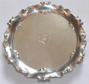 Salver engraved with the Allen crest.