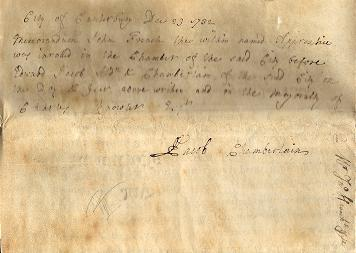 Apprenticeship Indenture signed by him as Chamberlain of Canterbury (Jacob MSS)