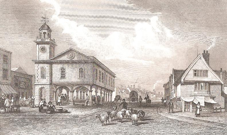 The guildhall in Market Square, Faversham, from a print dated 1830.