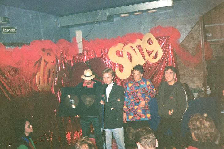 1995: Platinum and Giold presentation for Love Song. Left to right: Self, Tim Renner (Motor Music),  Andreas Schottler and Mark Oh.