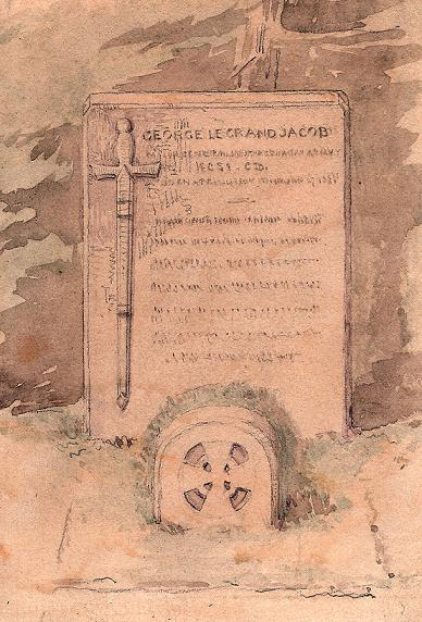 Watercolour executed by Sebastian Evans for the tombstone for George's grave.
