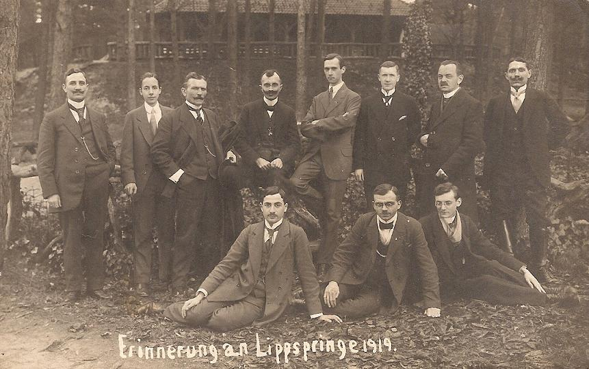 Taking the spa waters at Lippspringe in 1919. Walther is in the back row, 5th from left.
