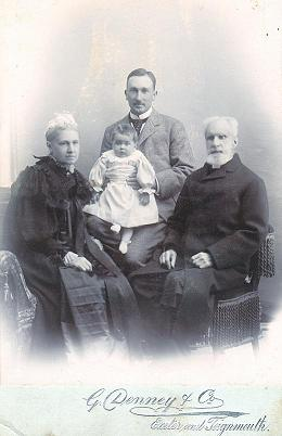 From left to right: Eliza Jacob (aged 61), Aileen Jacob (aged 18 months),Captain Claud William Jacob (aged 32) and Rev George Andrew Jacob (aged 88).